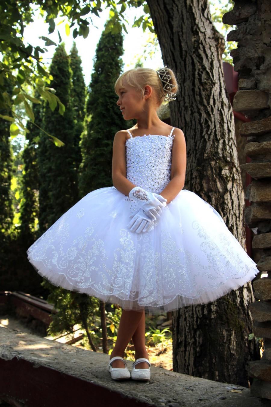 Свадьба - White Flower Girls Dress - Birthday Wedding Party Holiday Peasant Bridesmaid Tulle White Dress