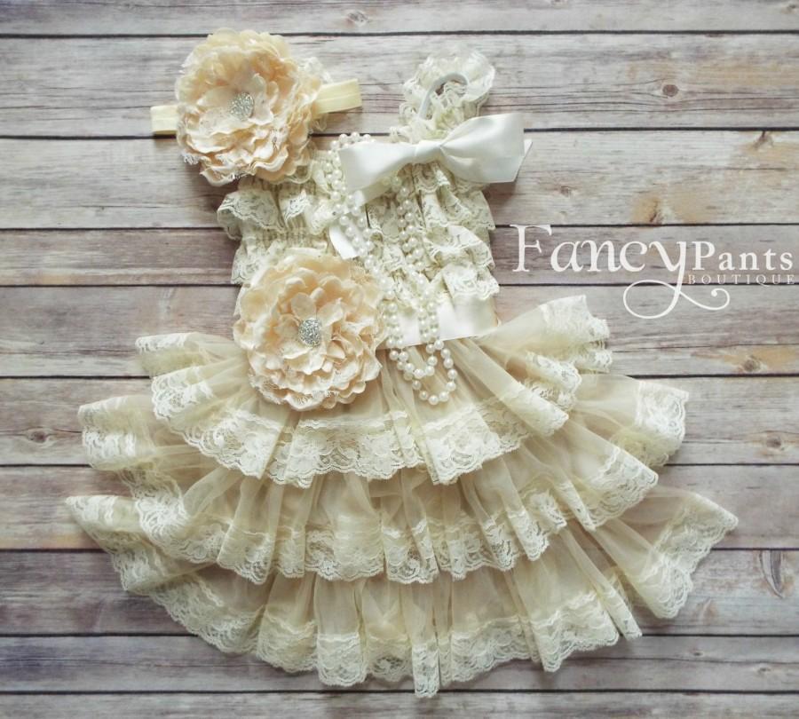 زفاف - Flower Girl Dress - Lace Flower girl dress - Baby Lace Dress - Rustic - Country Flower Girl - Lace Dress - Ivory Lace dress Rustic