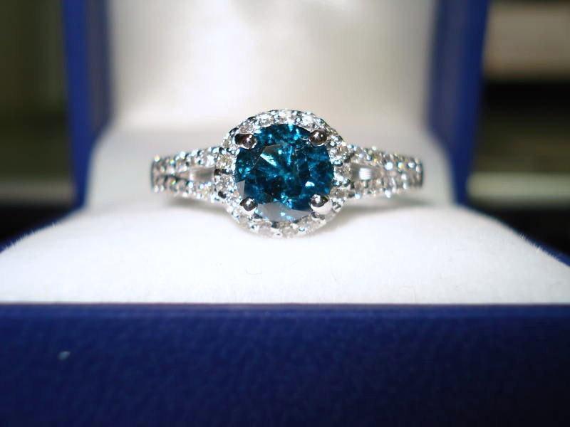 Blue Diamond Engagement Ring 1.32 Carat 14K White Gold Halo Certified  Handmade