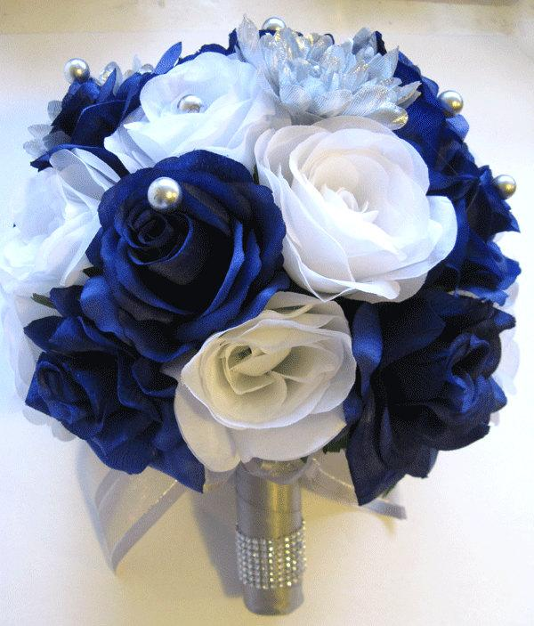 17 Piece Wedding Silk Flower Bouquet Bridal Package Silver Royal
