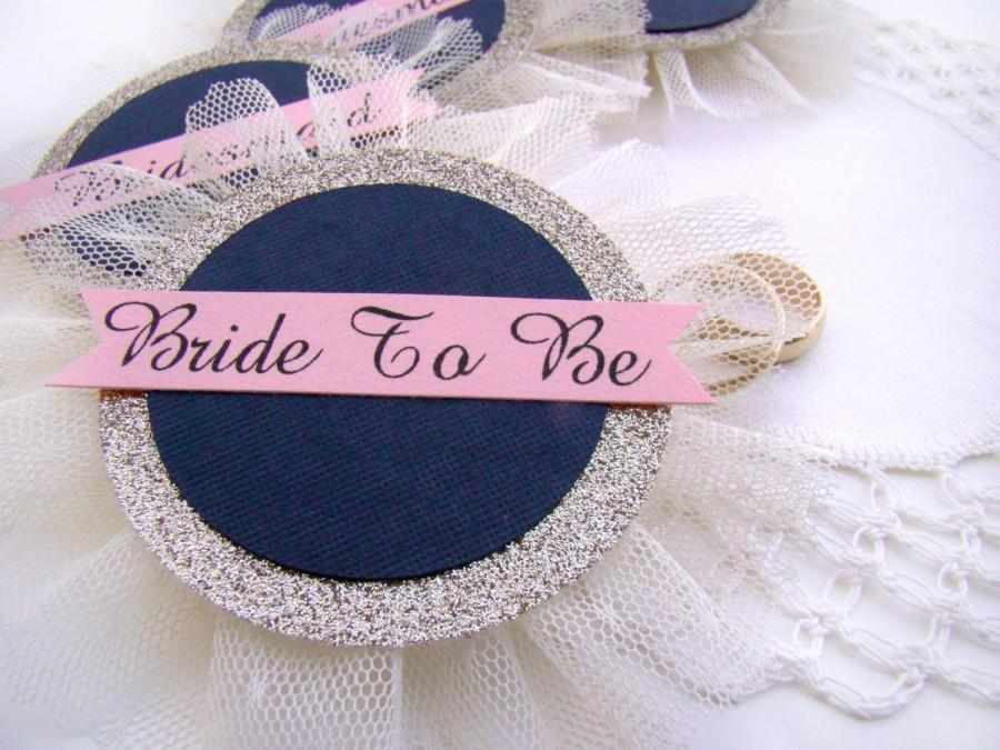 Mariage - Bridal Shower Corsage, Bride Pin, Bride Badge, Bachelorette Party Pins, Hen Party Pins, Wedding Party Badges, Navy Blush Wedding