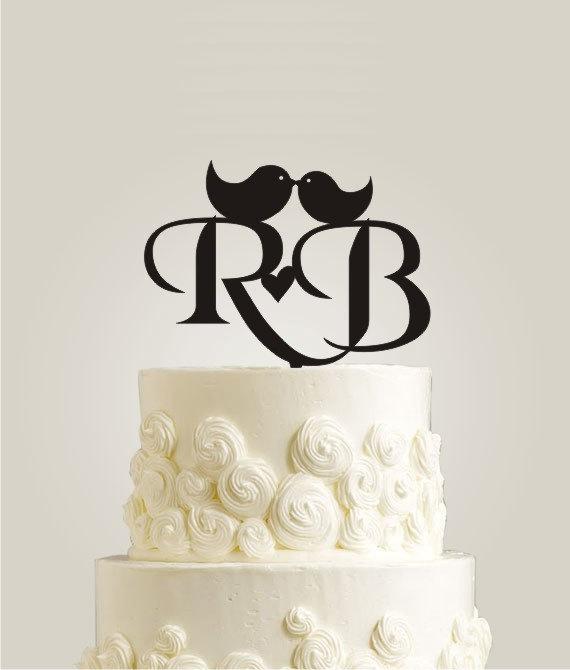 Black Wedding Cake Toppers Monogram