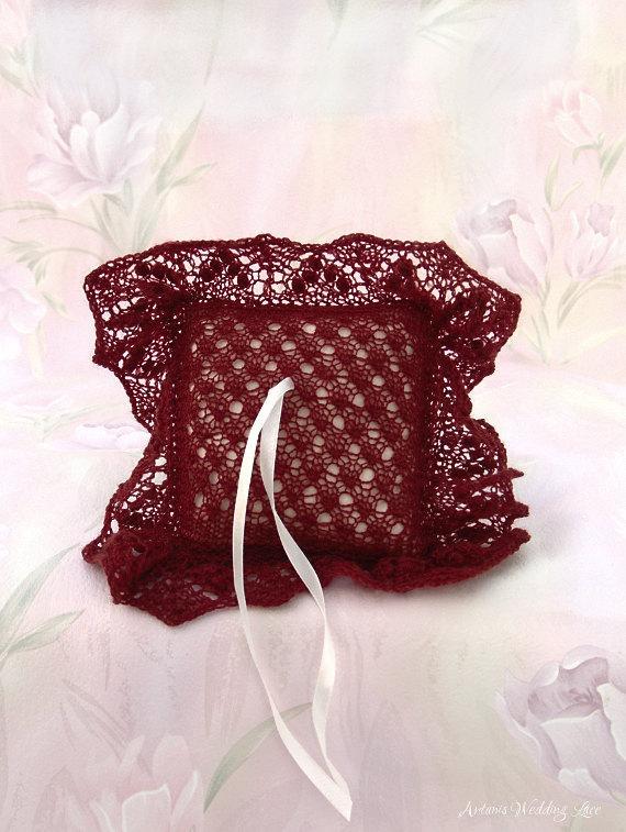 زفاف - Elegant Lace Ring Bearer Pillow, Hand-knitted Brownish Red Ring Pillow, Wedding Accessory, Bridal Accessory