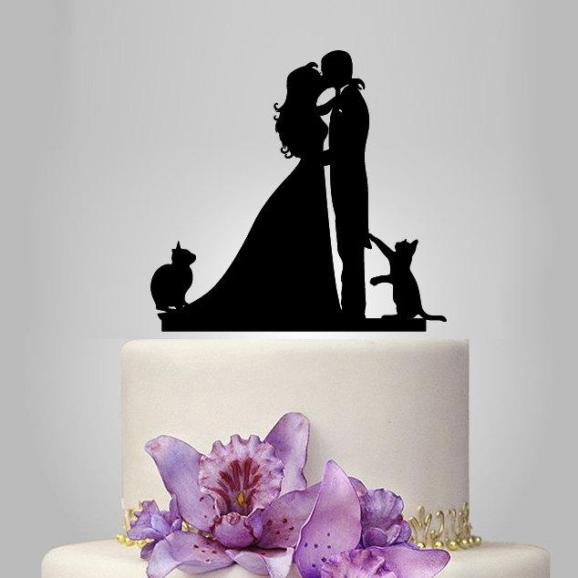 Mariage - Wedding Cake Topper birde and groom silhouette with two cats, pets Cake Topper, couple,  funny topper, kissing couple topper