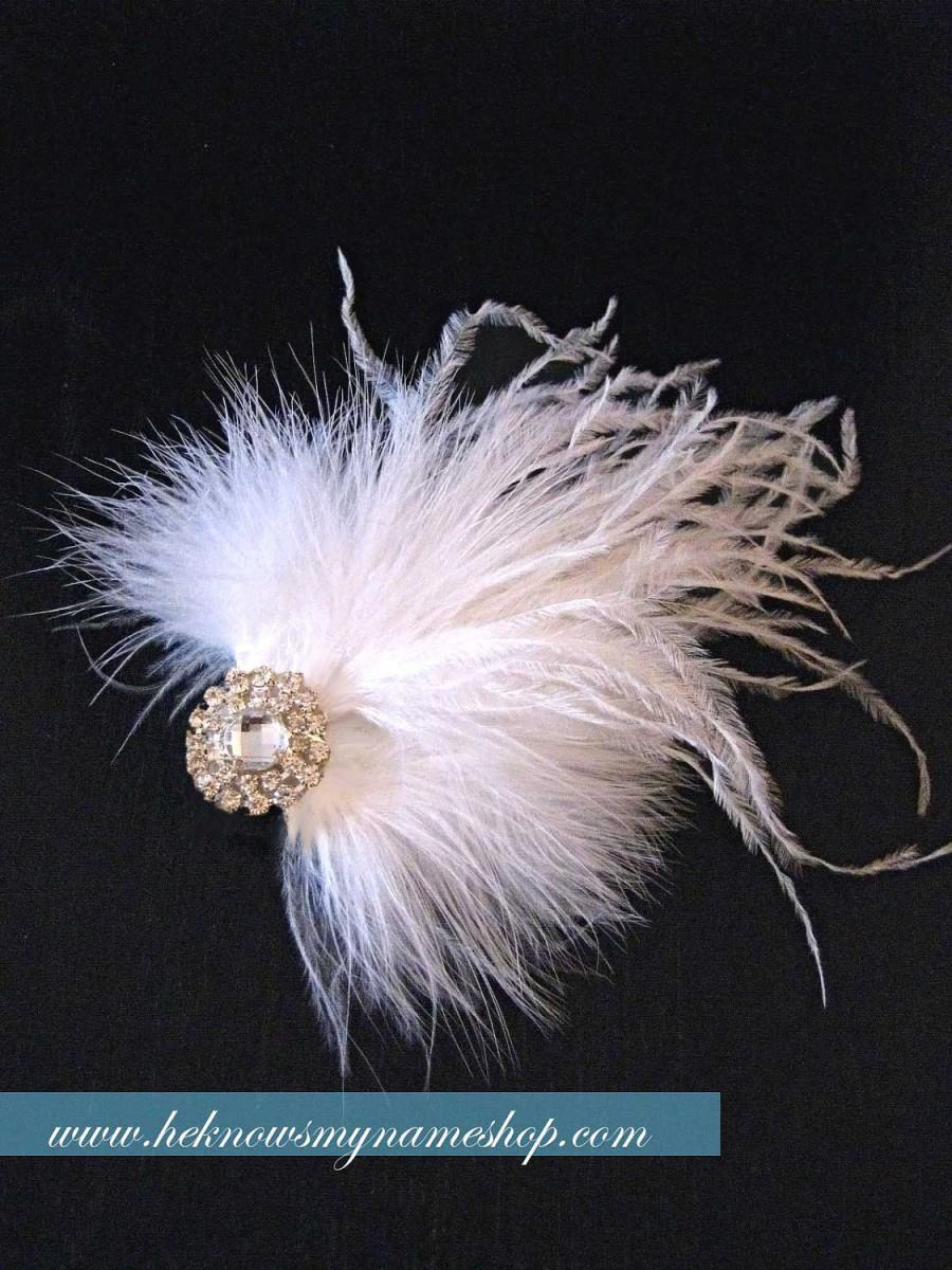 Свадьба - Weddings Accessories Bridal Hair Comb, Airy Feather Headpiece - bridal feather fascinator, feather clip, white, black