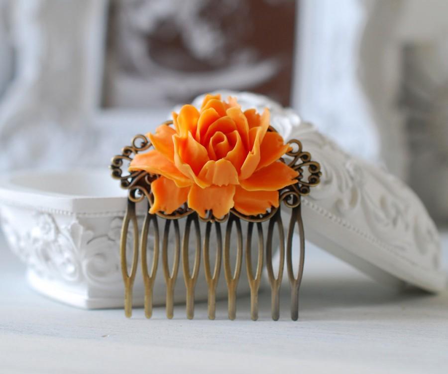 Свадьба - Tangerine Orange Wedding Hair Comb. Orange Wedding Bridal Hair Comb. Vintage Style Antique Brass Filigree Hair Comb, Bridesmaid Gift