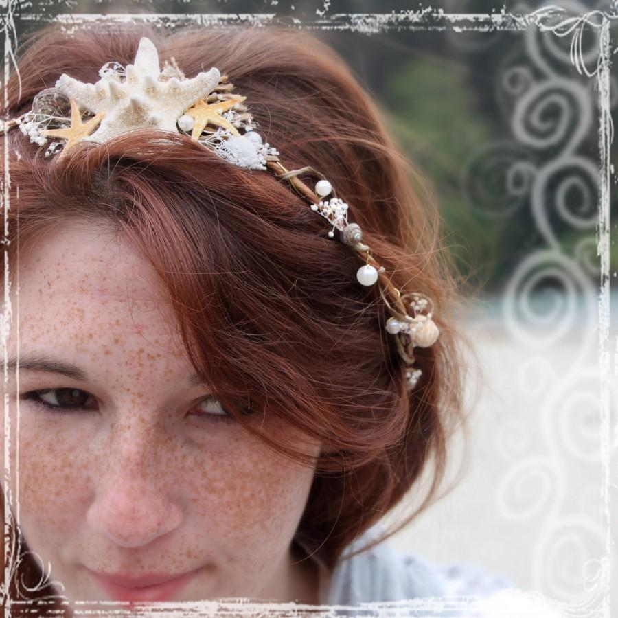 Mermaid Head Wreath Beach Bridal Crown Seashell Wedding Halo