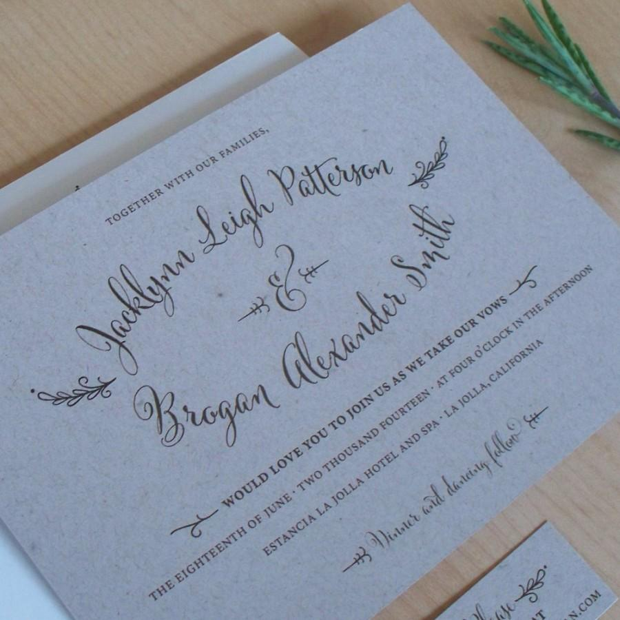 Mariage - Kraft Paper Wedding Invitation, rustic invitation, Outdoor Wedding, Hand Drawn Calligraphy Invitation, SAMPLE