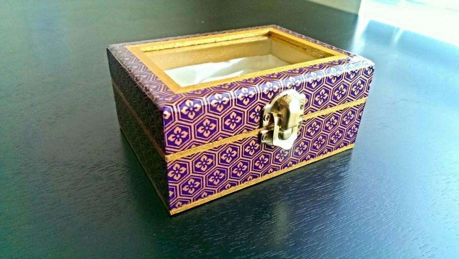 Mariage - Small Jewelry Box in Purple and Gold with Floral Mosaic Pattern and Gold Metallic Accents