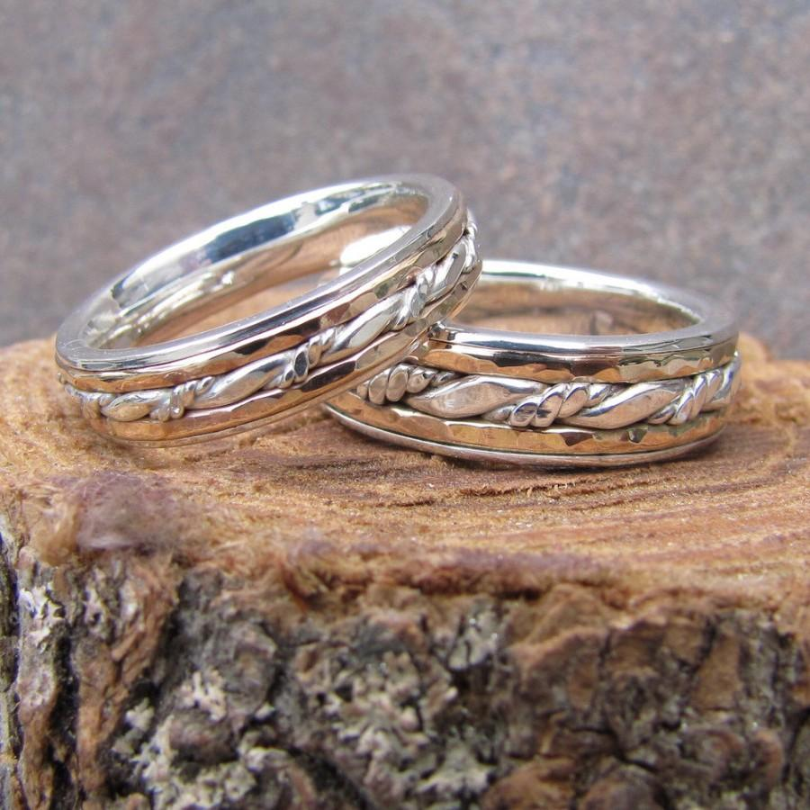 Wedding - Inlayed Matching Wedding Band Set of Argentium Sterling Silver and 14K Yellow Gold