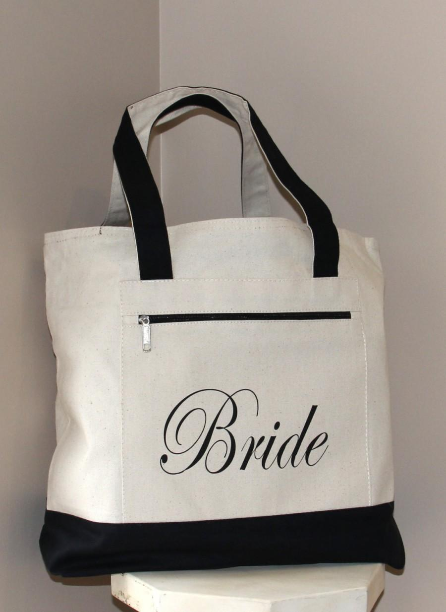 Bride Bag Heavy Canvas Zippered Tote Bridal Shower Gift Bachelorette Party Engagement Carryall