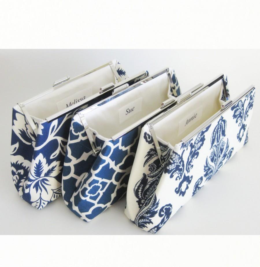 زفاف - Bridesmaids Clutches Wedding Bridal - Blue and White - Set of 3 - FREE Custom Silk Labels