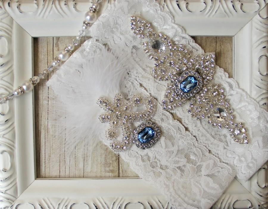 "Свадьба - Wedding garter - Vintage Garter Set w/ Blue ""Topaz"" and Rhinestones on Comfortable Lace, Wedding Garter Set, Crystal Garter Set"