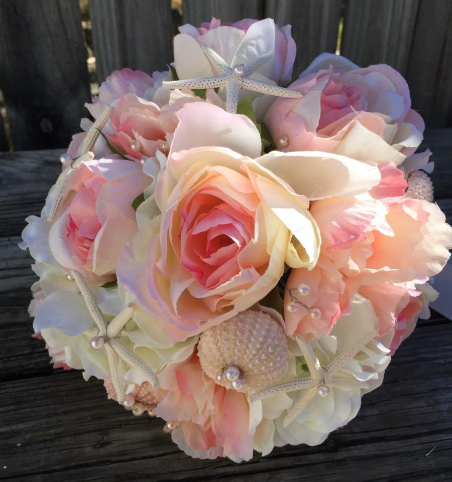 Blush Pink Beach Wedding Bouquet Sea Shell Bouquet Beach Wedding