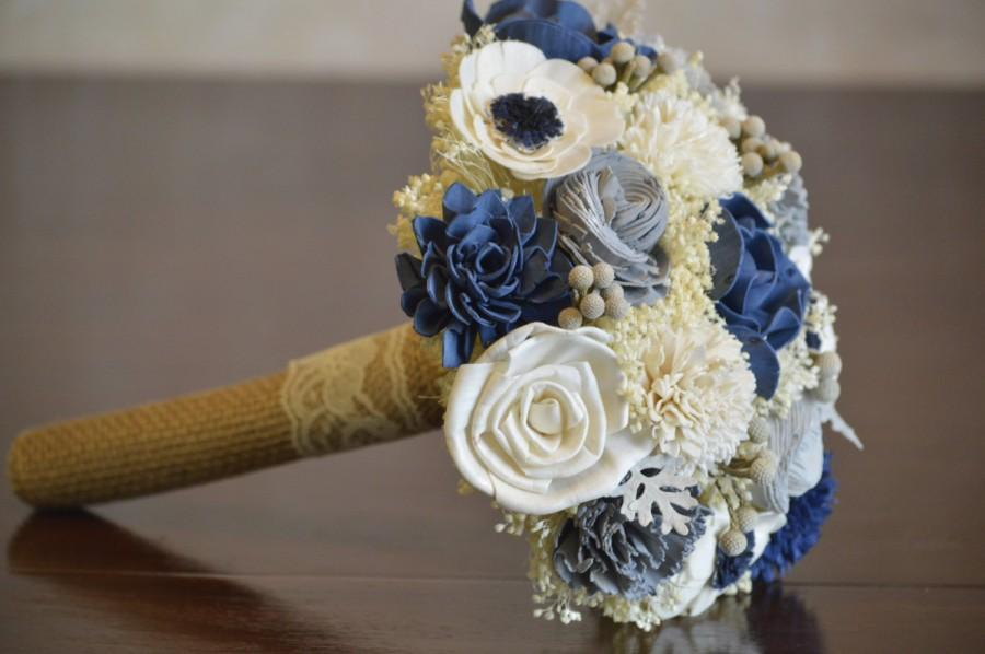 Navy Blue And Silver Wedding Collection Medium Bridal Bridesmaid Bouquet Sola Flowers Dusty Miller Brunia Anemone