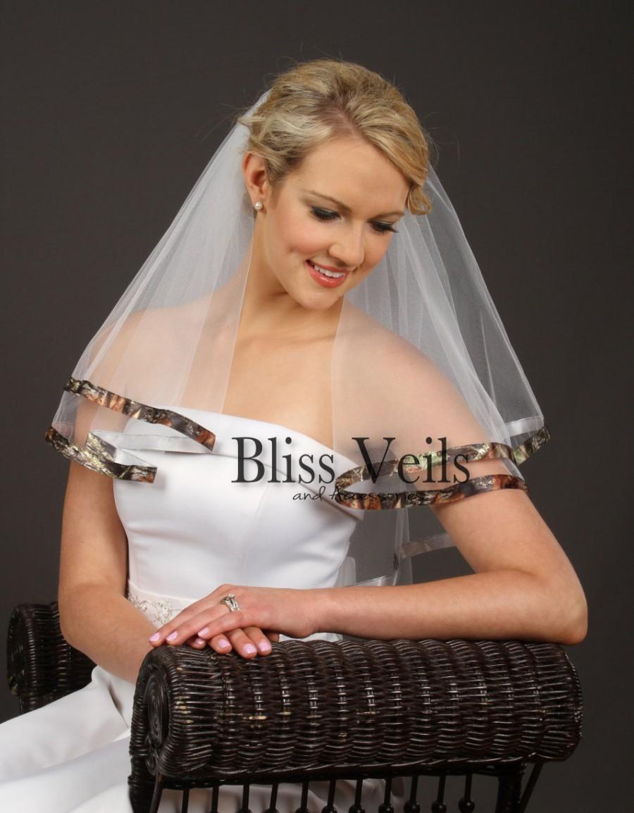 زفاف - Mossy Oak New Break Up Ribbon Edge Veil, Elbow Length Wedding Veil, Camo Veil