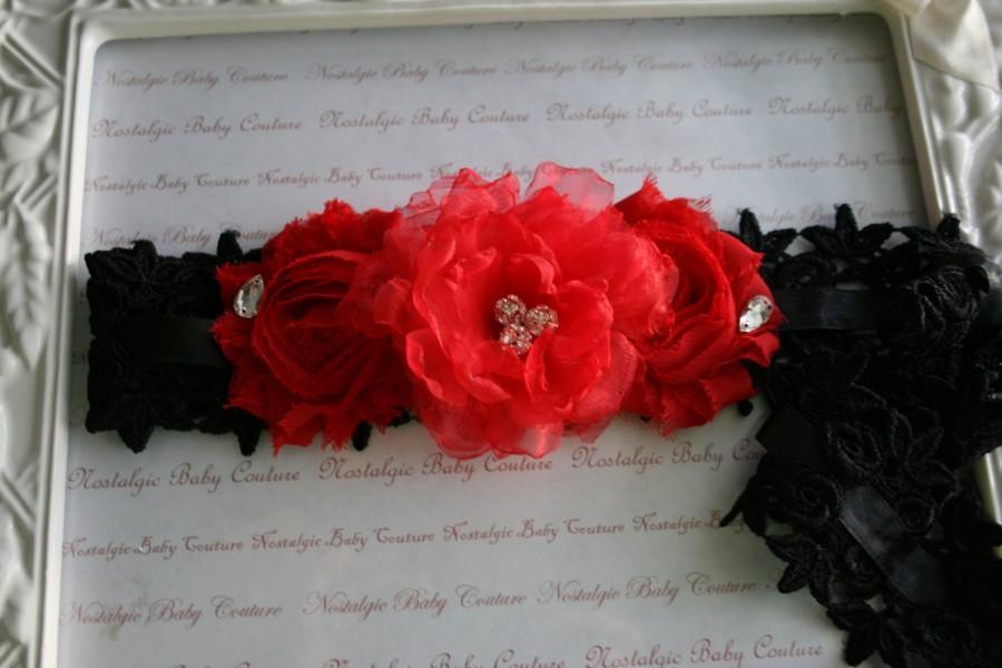 Bridal Garterblack And Red Weddingsspanish Style Venice Lace And