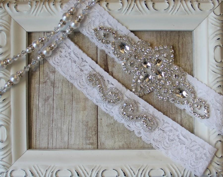 Свадьба - Garter Set, Wedding Garter Set, Bridal Garter Set, Vintage Wedding, Lace Garter, Crystal Garter Set - Style 001 A