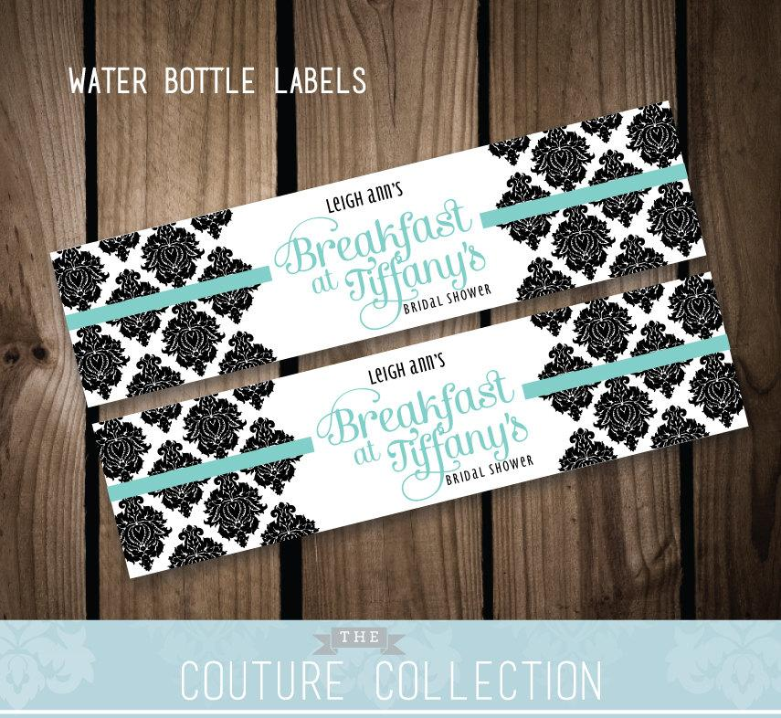 Water Bottle Labels   Breakfast at Tiffany s Inspired Bridal Shower   Black  and White Damask   Fully Customizable Printable DIY Digital FileWater Bottle Labels   Breakfast At Tiffany s Inspired Bridal  . Diy Wedding Water Bottle Labels. Home Design Ideas