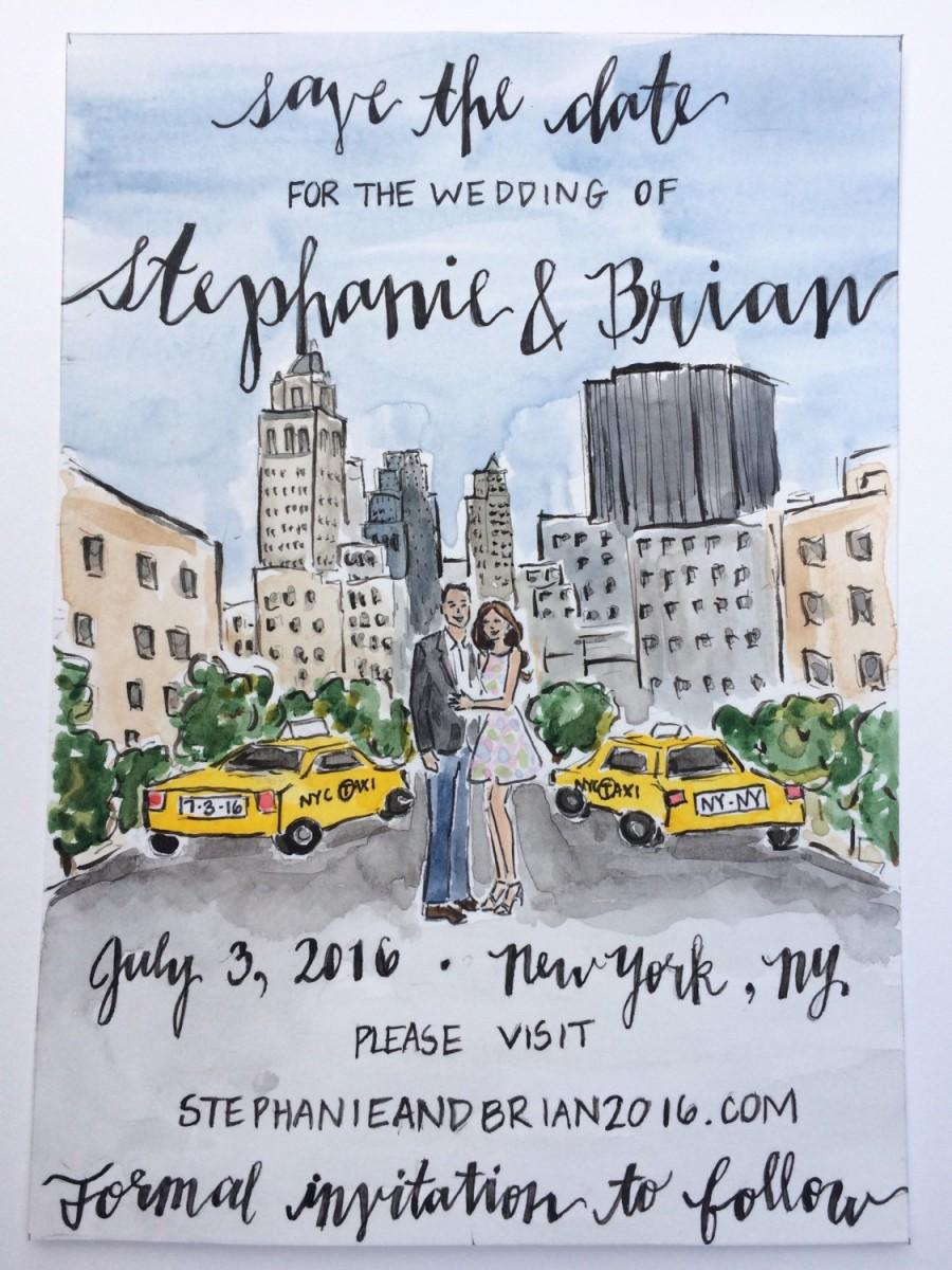 "Mariage - Custom Save The Date Watercolor Painting, 5"" x 7"""