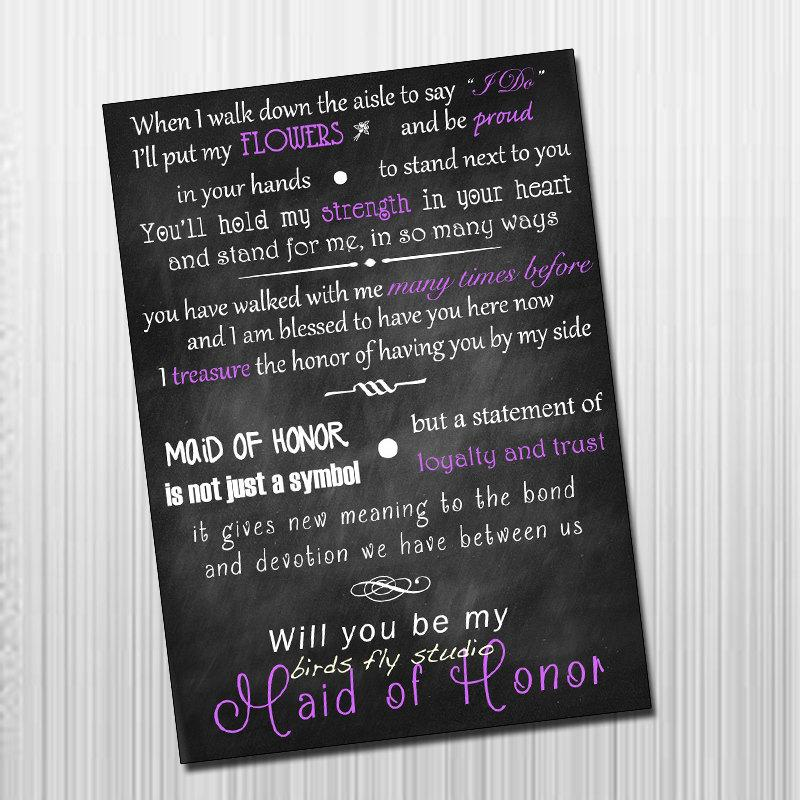 DIY Printable Will You Be My Maid Of Honor Card - Maid Of Honor ...