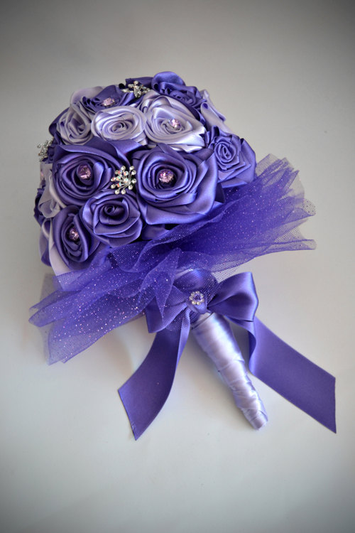 Свадьба - Custom-made Fabric Rose Wedding Bouquet