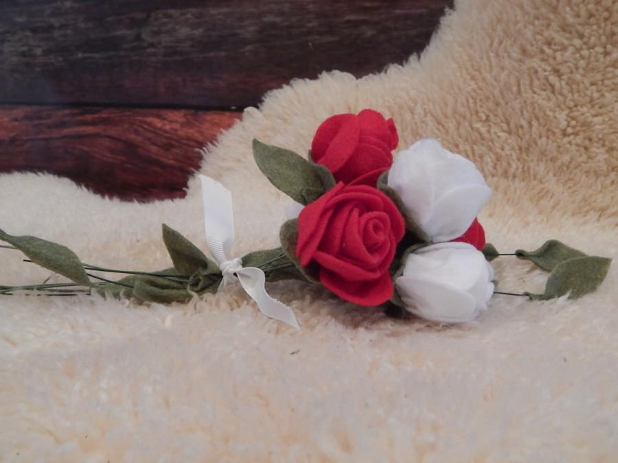 Mariage - Rustic Wedding Bouquet - Felt Flowers, Roses, Valentines Day