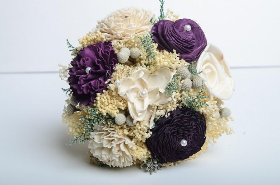 Mariage - Purple, Pantone Bridesmaids Bouquet, Sola Flower Bouquet, Keepsake Bouquet, Vintage Bouquet.