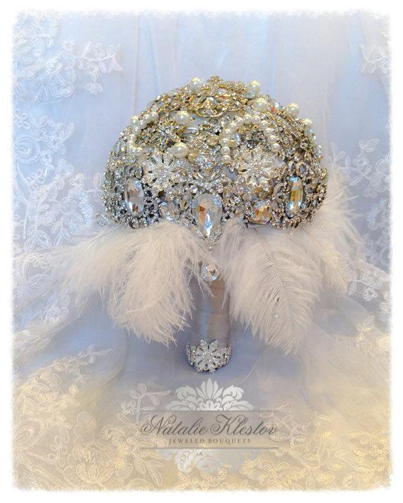 Mariage - The Great Gatsby Art Deco Brooch Bouquet.Deposit on Vintage Draping Diamond Crystal Pearl Feather Brooch Bouquet