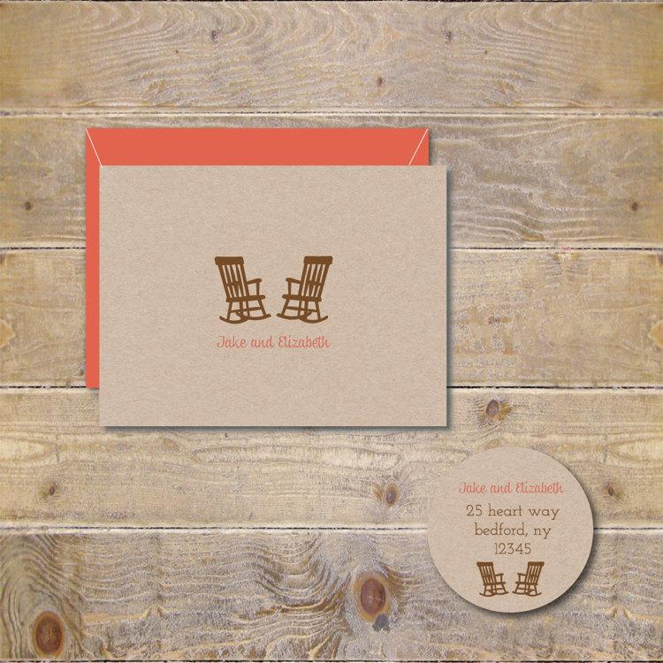 Mariage - Bridal Shower Thank You Cards . Wedding Thank You Cards . Rocking Chairs  - Let's Grow Old Together