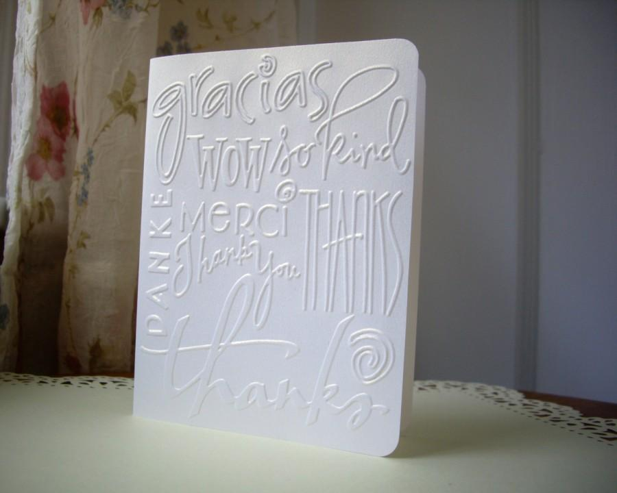 Handmade Thank You Card Set White Thank You Cards Wedding Thank