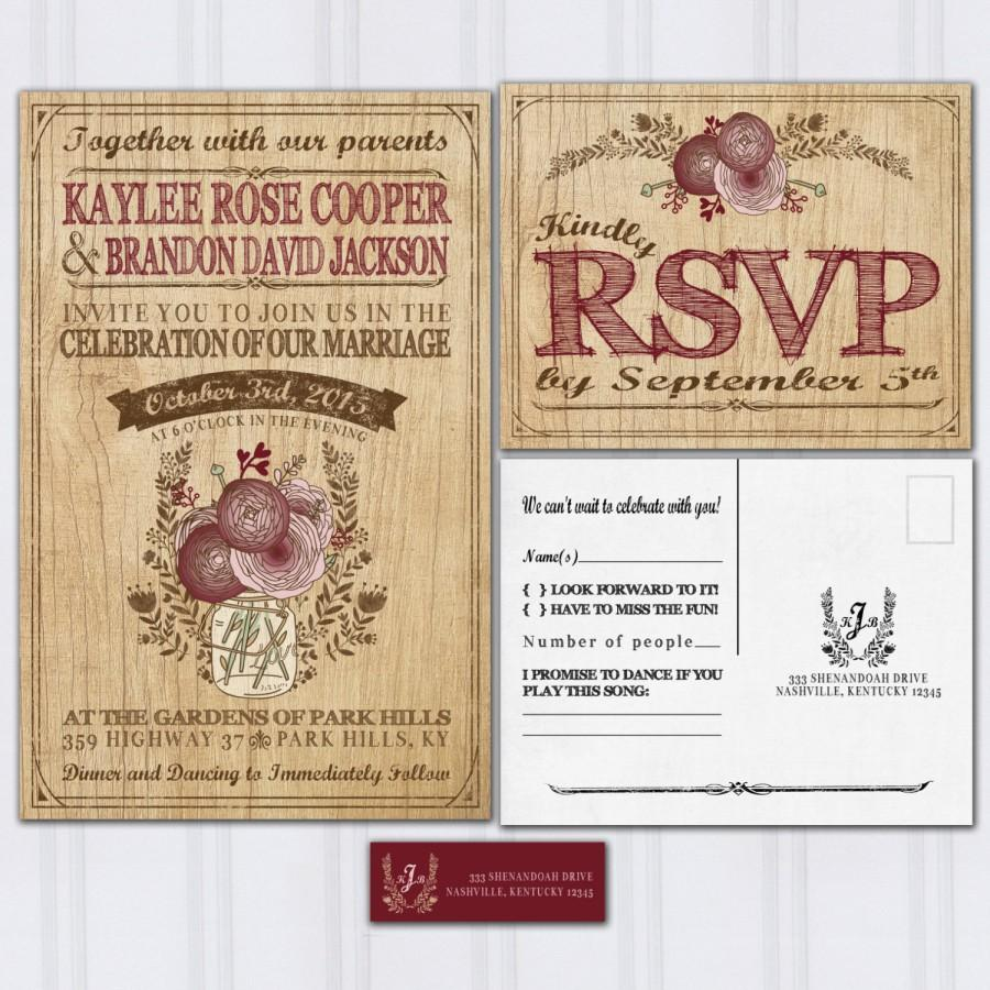Mariage - Wood Grain Wedding Invitations, Rustic Mason Jar, Boho Wedding Invitation, Maroon and Pink Wedding, Discount Wedding Invites, SAMPLE
