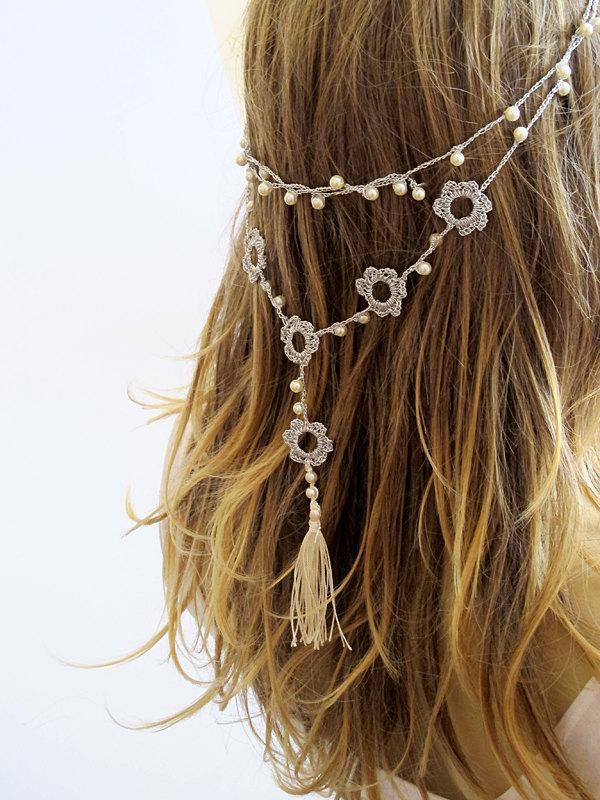 زفاف - Crochet Headband and necklace hairband wedding pearl tassel hair accessories  handmade Headband  Crochet Headbands for Women gift ideas