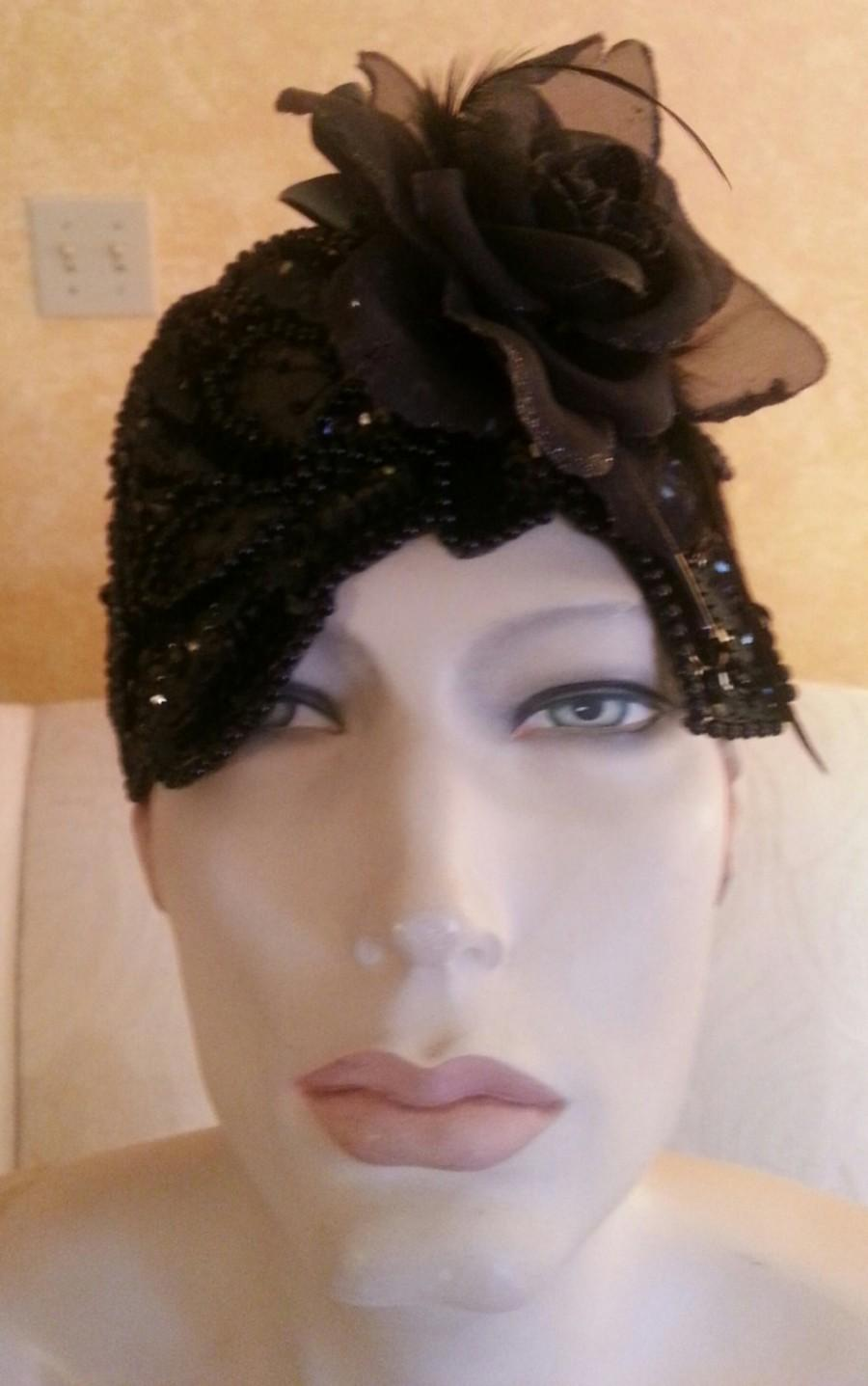 زفاف - Elegant Gatsby Roaring Twenties Style Black Beaded Bridal Headpiece Costume Theatrical Burlesque Party Club Dance By Sebrina Love
