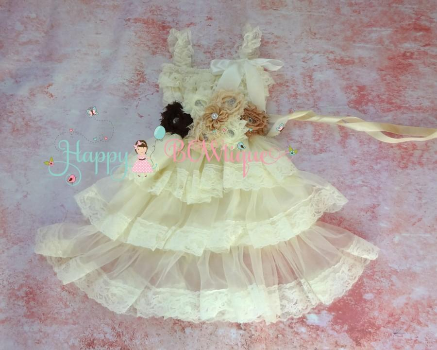 زفاف - Flower girls dress- Ivory Petti Skirt Lace dress, Burlap wedding dress, Ivory dress,Girls dressrustic wedding dress, Country wedding dress