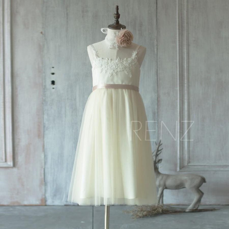2015 Beige Lace Junior Bridesmaid Dress, Scoop Flower Girl Dress ...
