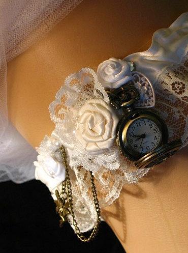 Свадьба - Steampunk Victorian Wedding Garter with Pocketwatch.  Bride garter or Bridesmaids