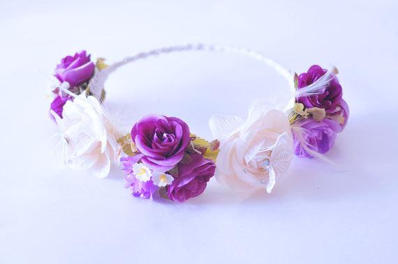 زفاف - Violet Garden Flower Wedding Crown, Bridal Crown, Festival Headband, Woodland Crown, Flower Headband, FREE SHIPPING