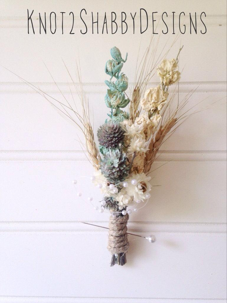 Wedding dried bridal party bouquets dried flowers shabby chic wedding dried bridal party bouquets dried flowers shabby chic wedding boutonnire bridal party bridesmaid bouquet izmirmasajfo