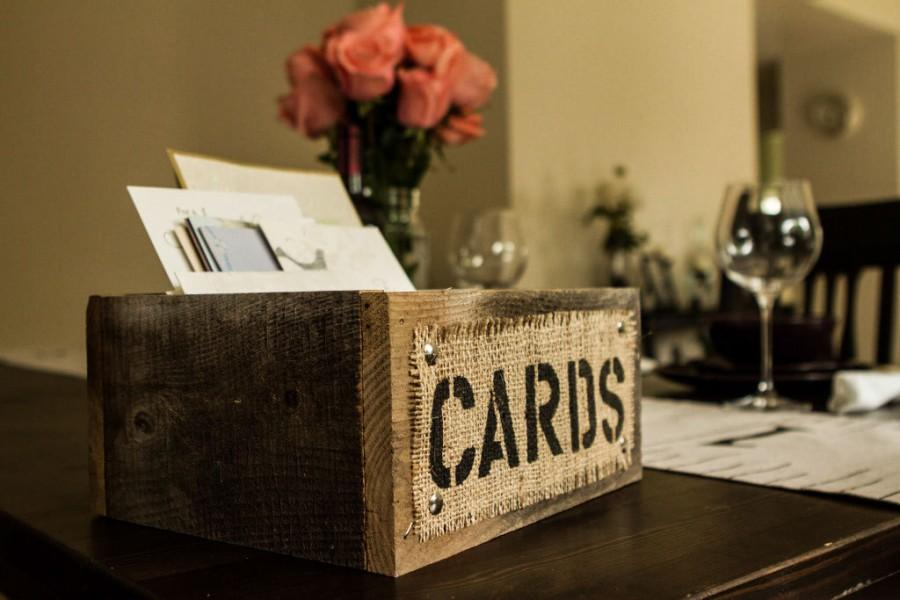 Свадьба - Burlap and Reclaimed Wood CARDS Box for Rustic Country Wedding Hand Painted and stenciled