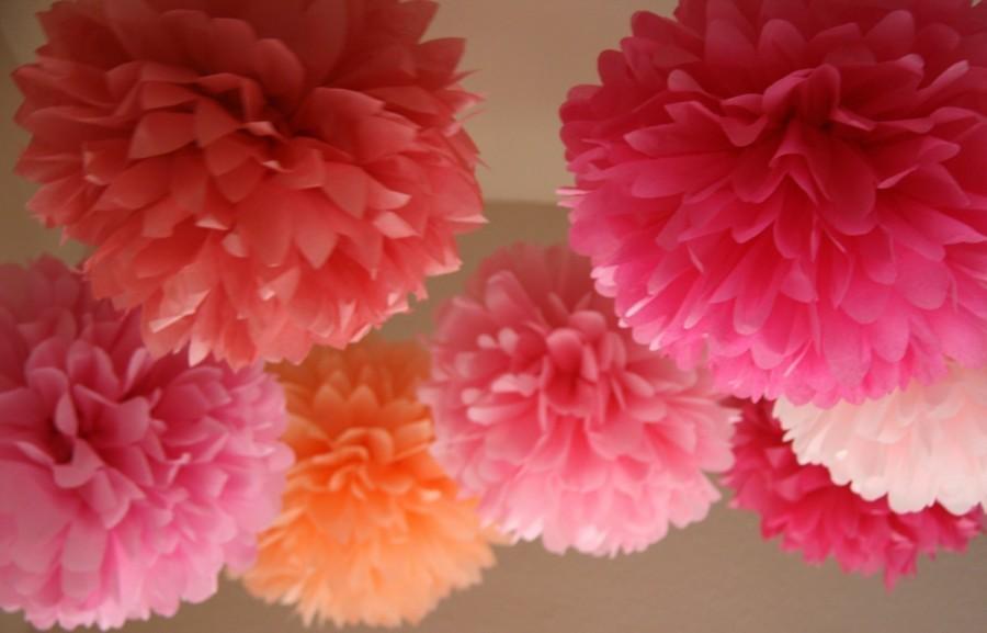Свадьба - PINK LOVE Tissue Paper Poms