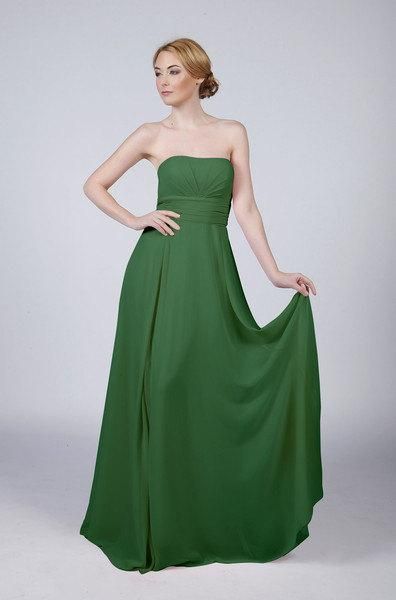 Wedding - 16 Colours Available Beautiful Long Strapless Prom Bridesmaid Dress including Emerald Green