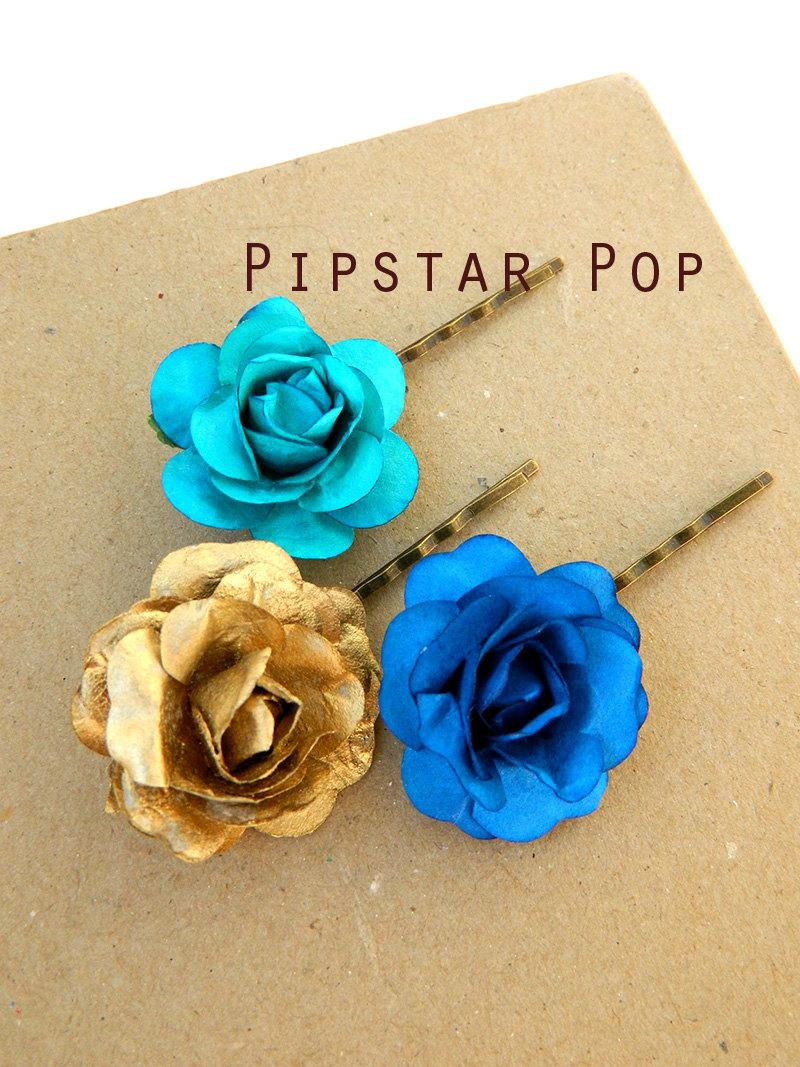 زفاف - Garden Roses Blue and Gold hair clip (Set of 3 rose) Paper Flower Hair Pins vintage chic fashion, wedding, flower girls, or bridesmaid