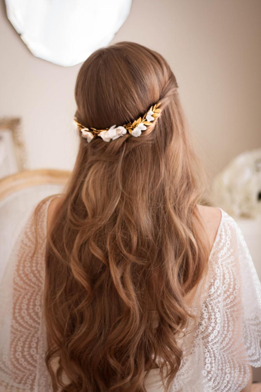 زفاف - Silk flower and laurel hair comb, bridal flower comb, bridal flower clip, silver leaf headpiece, gold flower headpiece, silver comb #209