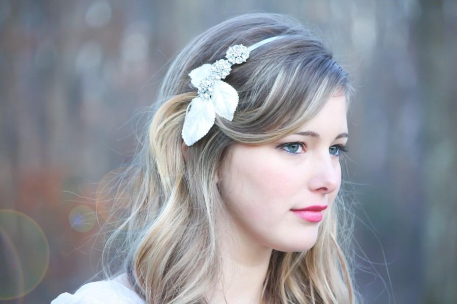 Hochzeit - Bridal rhinestone headpiece, velvet leaf rhinestone headband