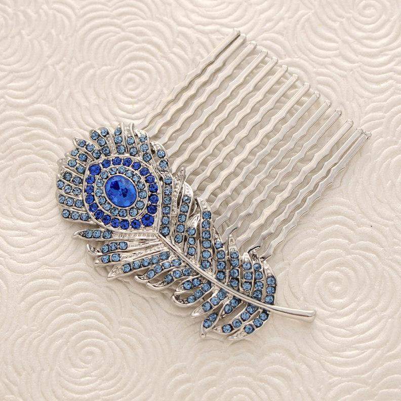 زفاف - Blue Feather Hair Comb Peacock Royal Blue Wedding Crystal Feather Hair Comb Bridal Comb Sapphire Blue Wedding Hair Accessory