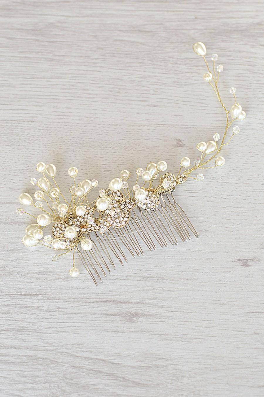 زفاف - Wedding Pearl Hair Piece, Gold Vine hair piece, Bridal Hair Comb, Vintage wedding, Large Pearl Comb, Bridal Hair Accessory, Gold vine crown