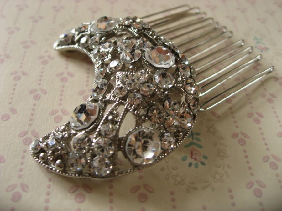 زفاف - Night romantic moon rhinestones crystals wedding bridal hair comb