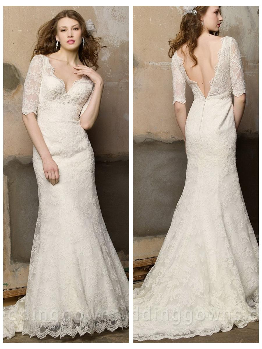 v neck empire wedding dress with half sleeves and mermaid skirt