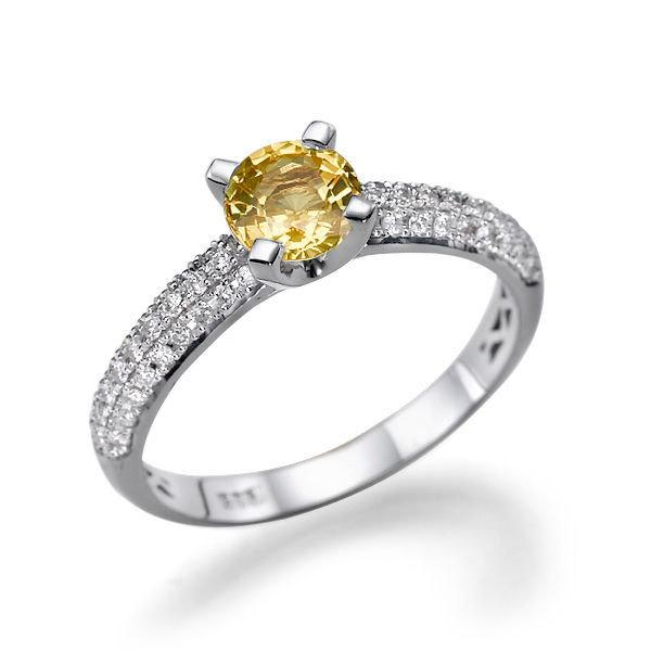 Mariage - Pave Ring, 14K White Gold Ring, 1.02 TCW Yellow Sapphire Engagement Ring, Art Deco Jewelry, Sapphire Ring Vintage